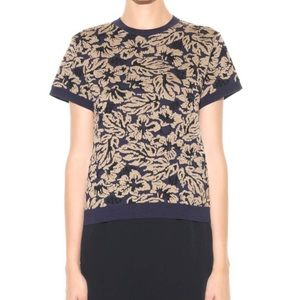 Prada Wool Blend Knitted Jacquard Top Inchiostro